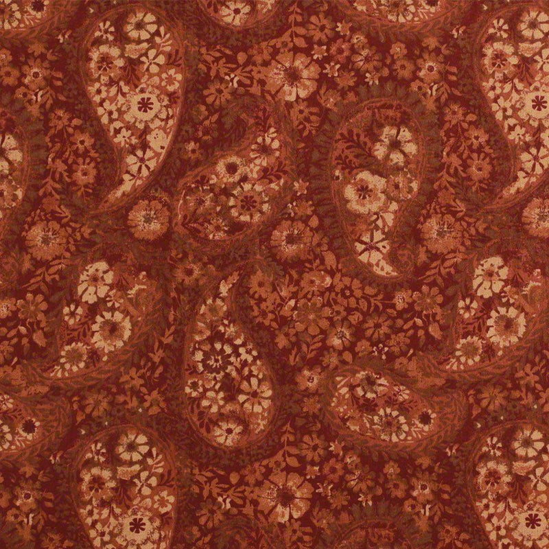"108"" Quilt Backing, Floral Paisley Fabric - Rust - ineedfabric.com"