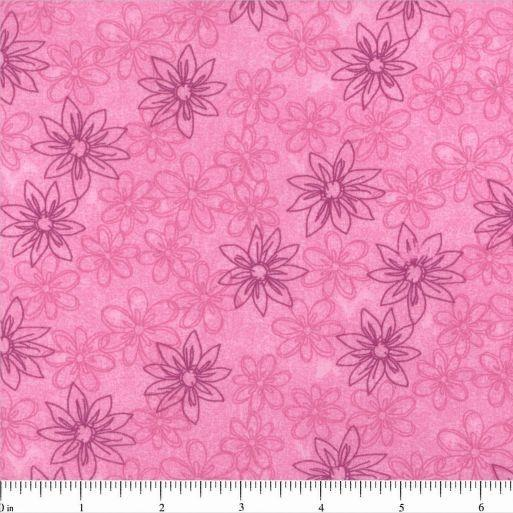 "108"" Sketched Floral Quilt Backing - Magenta - ineedfabric.com"