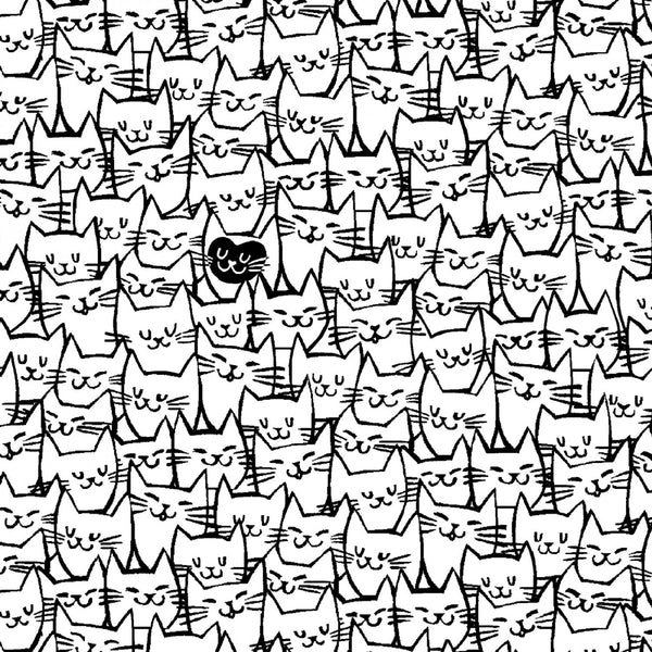 "108"" White Packed Cats Quilt Backing Fabric - ineedfabric.com"