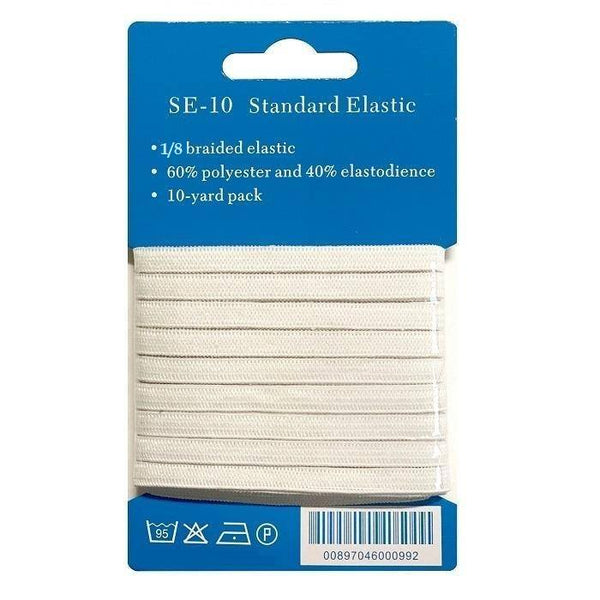 "1/8"" White Braided Elastic - 10 Yards - ineedfabric.com"