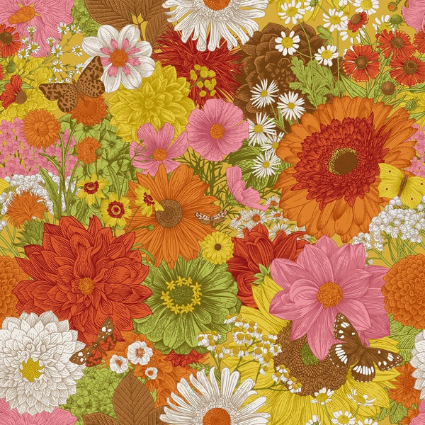 70s Flowers & Butterflies Fabric - Multi - ineedfabric.com