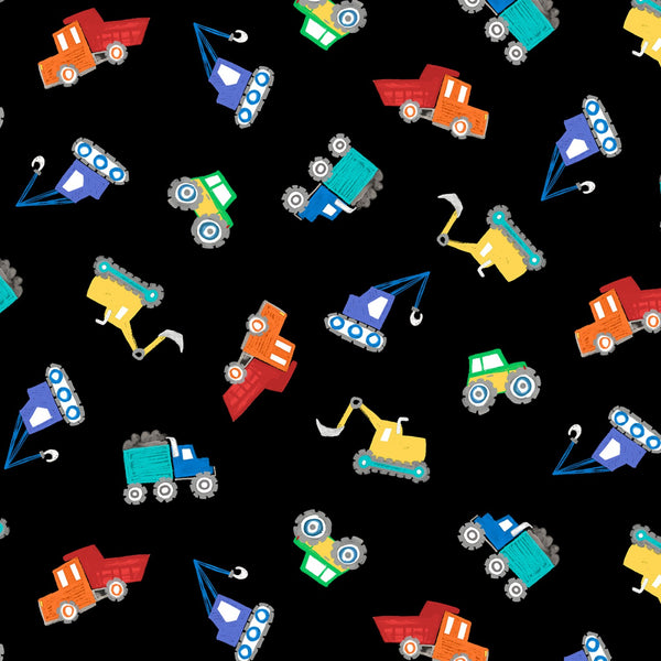 Tossed Diggers & Dumpers Fabric - Black
