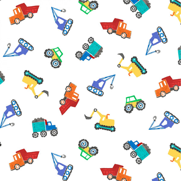 Tossed Diggers & Dumpers Fabric - White