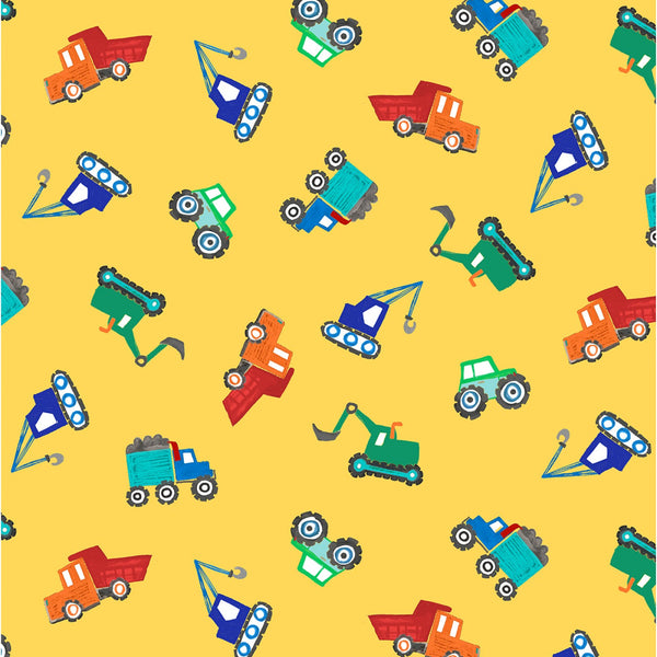 Tossed Diggers & Dumpers Fabric - Yellow