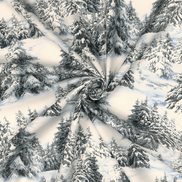 Elizabeth's Studio, White Snow Pine Trees Fabric