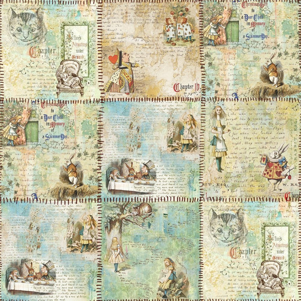 Alice in Wonderland Patchwork Fabric - ineedfabric.com