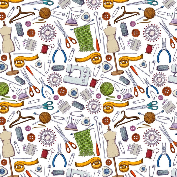 Allover Sewing Notions Fabric - White - ineedfabric.com