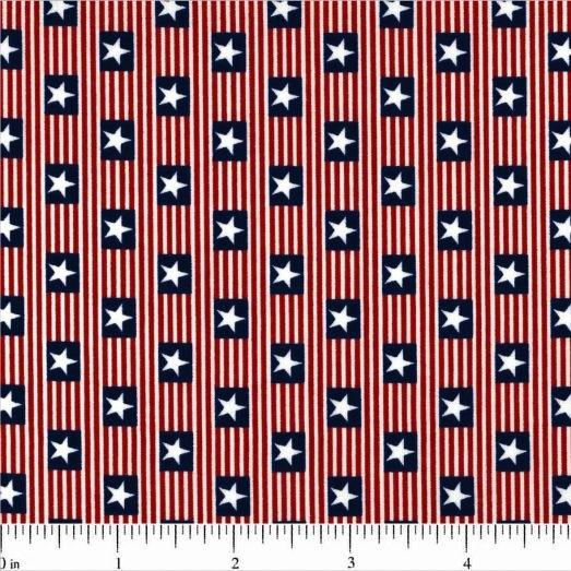 American Flag Stripes and Stars Fabric - ineedfabric.com