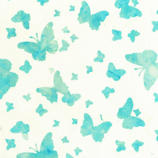 Anthology, Butterfly Batik Fabric - Aqua - ineedfabric.com