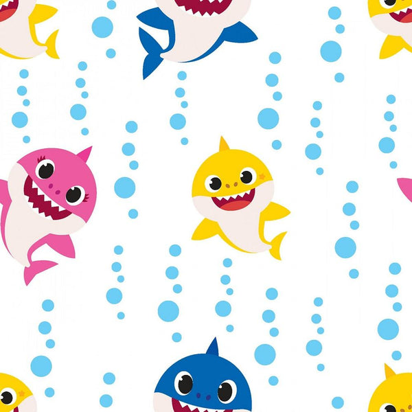 Baby Shark Family Bubble Blast Fabric - ineedfabric.com