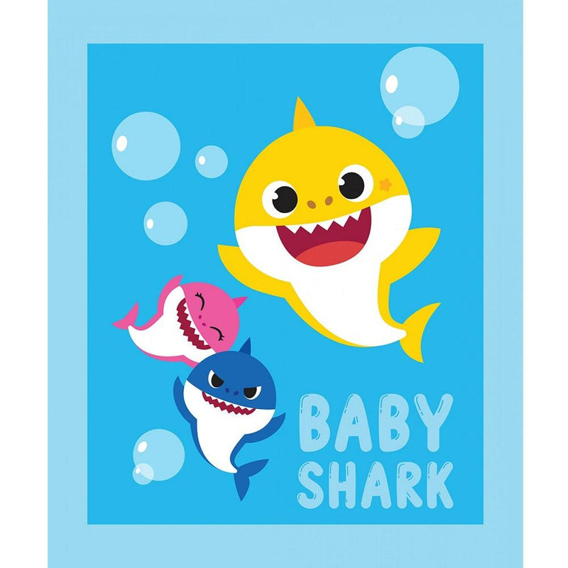 "Baby Shark Family Fabric Panel - 44"" by 36"" - ineedfabric.com"