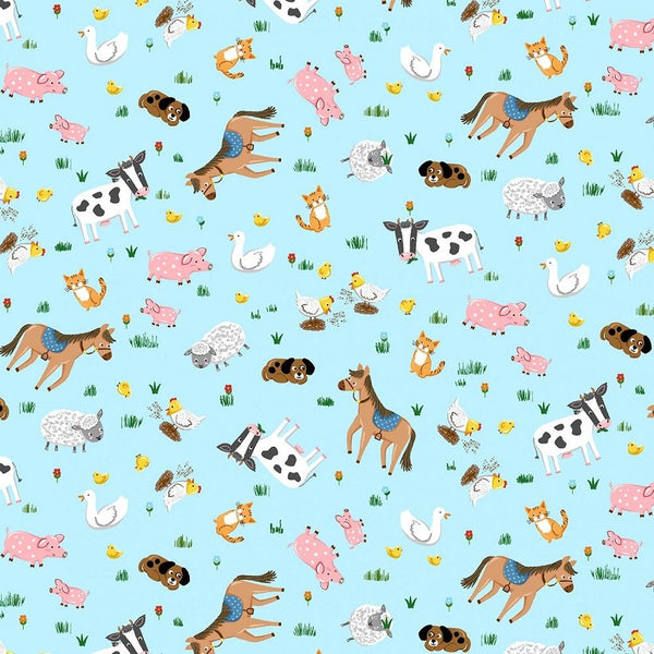 Barnyard Animals Fabric - Blue - ineedfabric.com