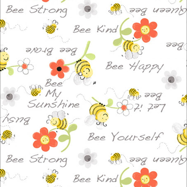 Bee Words Floral Fabric - White - ineedfabric.com