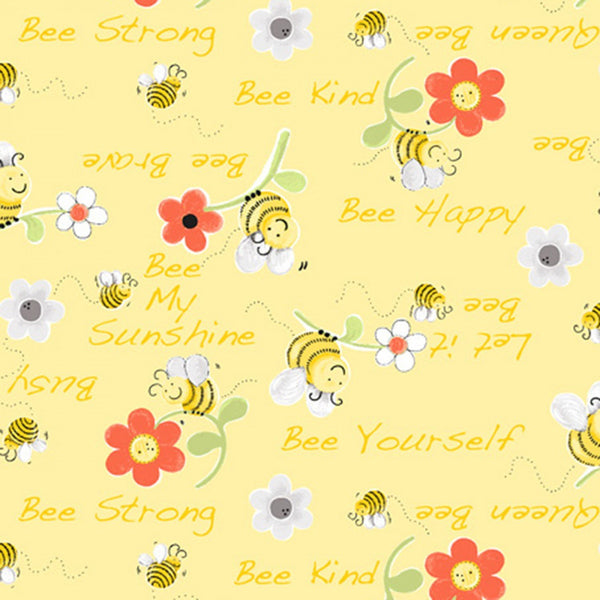 Bee Words Floral Fabric - Yellow - ineedfabric.com