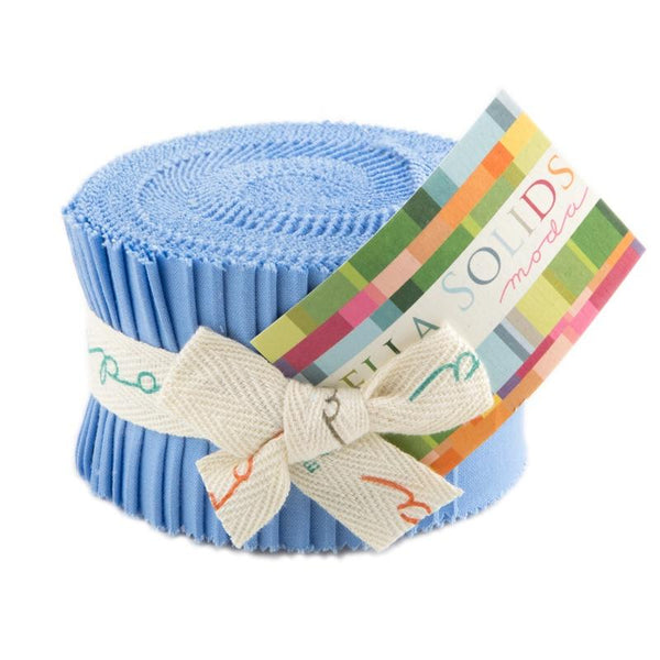 Bella Solids 30's Blue Junior Jelly Roll - 20 Strips - ineedfabric.com