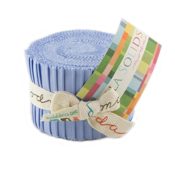 Bella Solids Baby Blue Junior Jelly Roll - 20 Strips - ineedfabric.com
