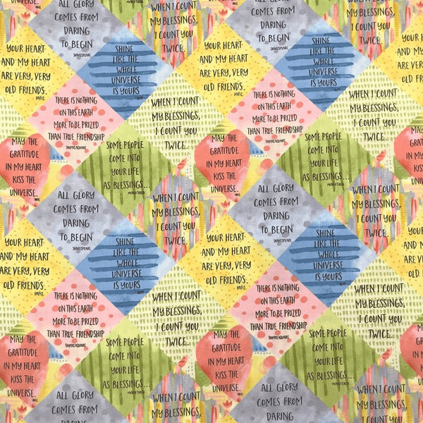 Blessings, Sayings Fabric - Multi - ineedfabric.com