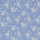 Blue Floral and Leaves Fabric - ineedfabric.com