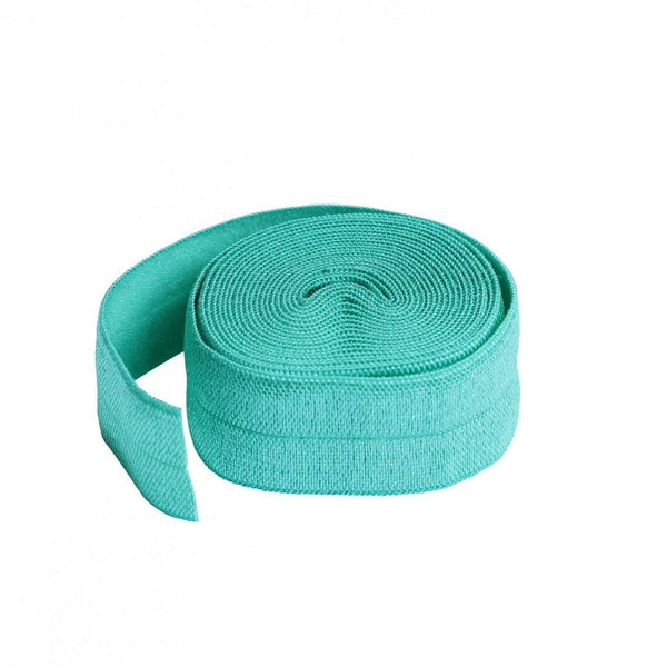 By Annie, Fold-over Elastic 3/4 inches x 2 yards - Turquoise - ineedfabric.com