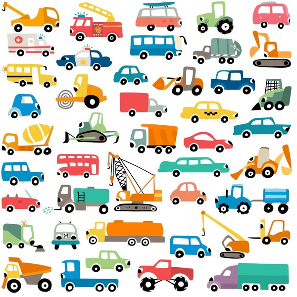 Cartoon Cars Fabric - ineedfabric.com