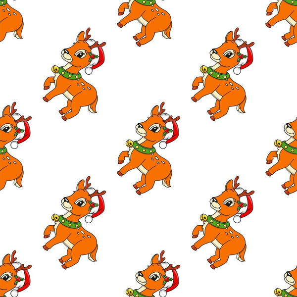 Cartoon Christmas Reindeer Fabric - ineedfabric.com
