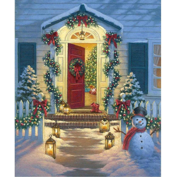 Christmas Porch Fabric Panel - ineedfabric.com