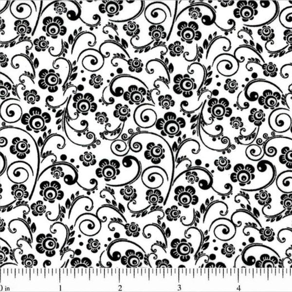Classic Collection, Abstract Floral Fabric, Black on White - ineedfabric.com