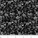 Classic Collection, Abstract Floral Fabric, White on Black - ineedfabric.com