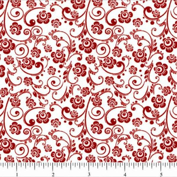 Classic Collection, Mini Florals Fabric, Red on White - ineedfabric.com