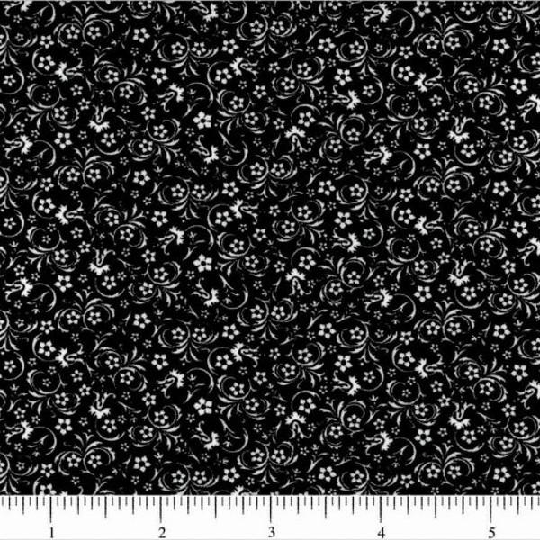 Classic Collection, Mini Florals Fabric, White on Black - ineedfabric.com