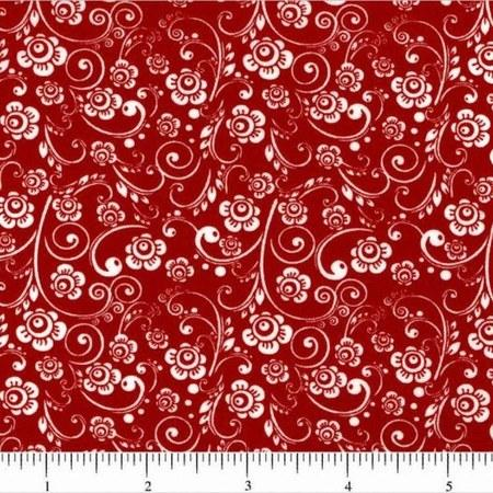 Classic Collection, Mini Florals Fabric, White on Red - ineedfabric.com