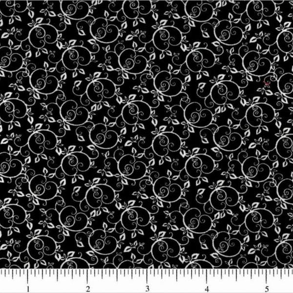 Classic Collection, Swirling Vine Fabric, White on Black - ineedfabric.com