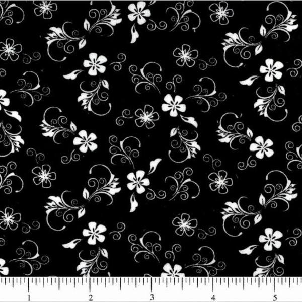 Classic Collection, White on Black Mini Florals Fabric - ineedfabric.com