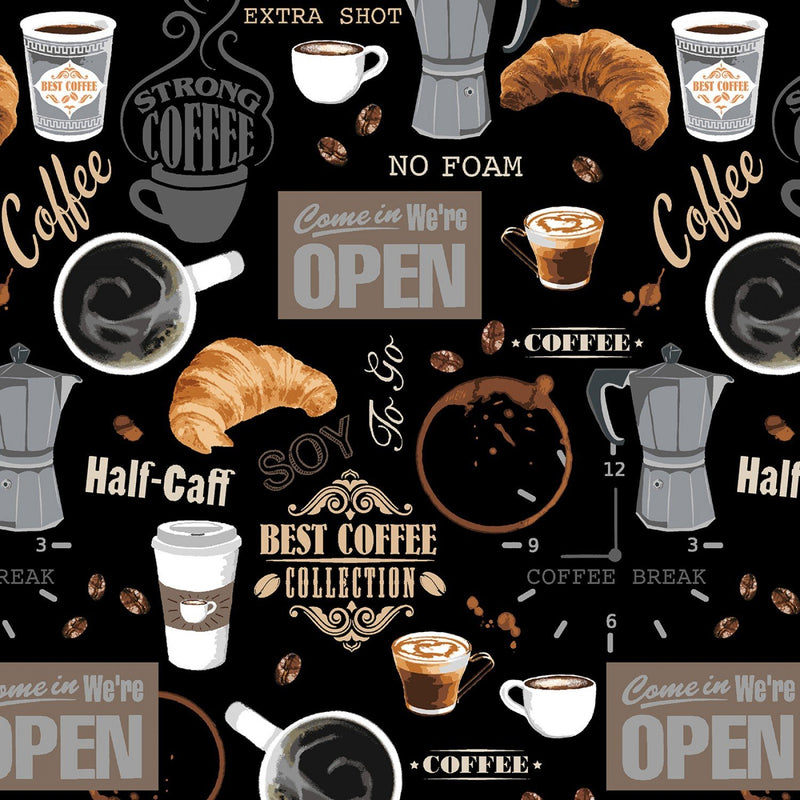 Coffee Shop Fabric - Black - ineedfabric.com