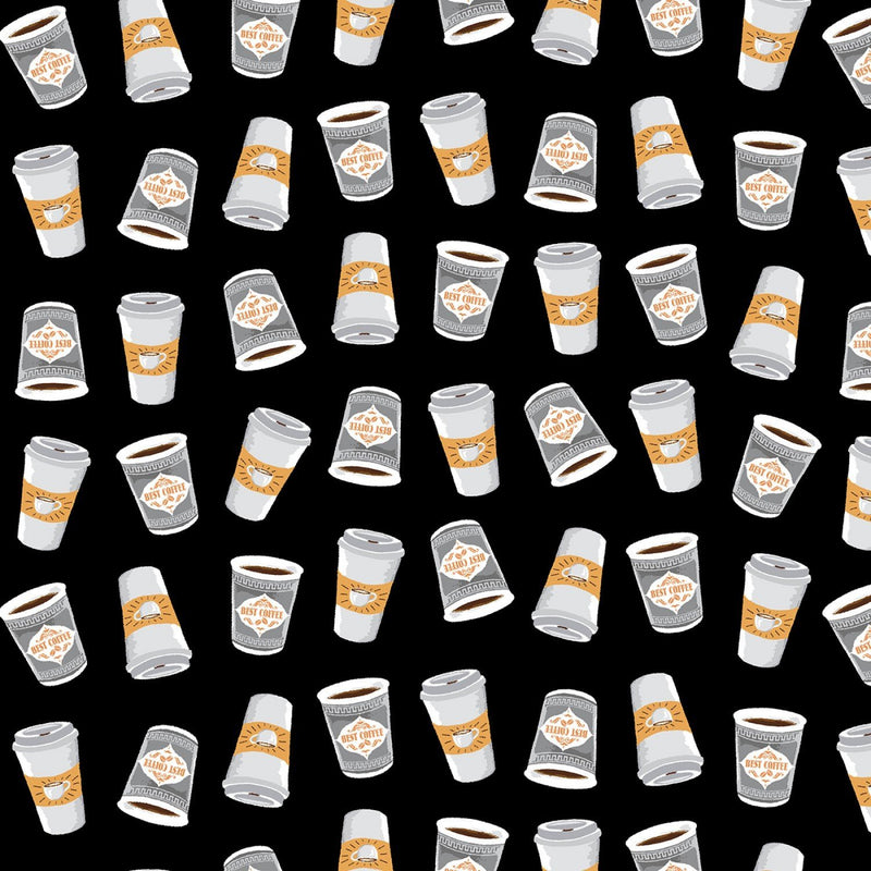 Coffee To Go Fabric - Black - ineedfabric.com