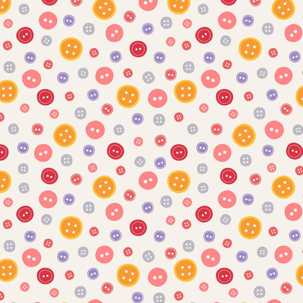 Colorful Button Fabric - Beige - ineedfabric.com