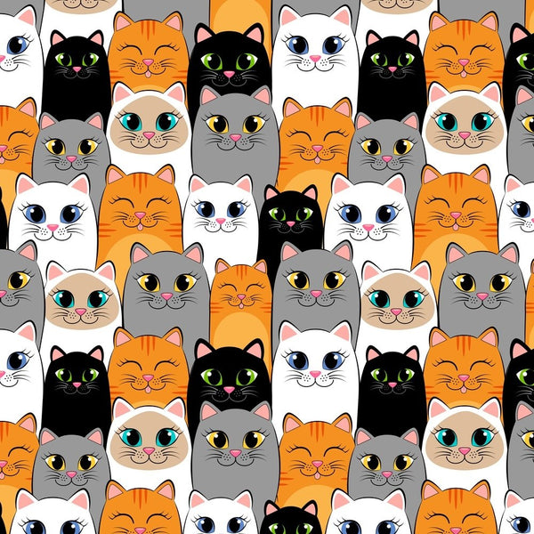 Colorful Packed Cartoon Cats Fabric - ineedfabric.com