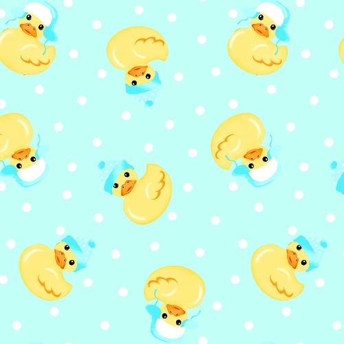 Comfy Flannel Duckie Fabric - Teal - ineedfabric.com