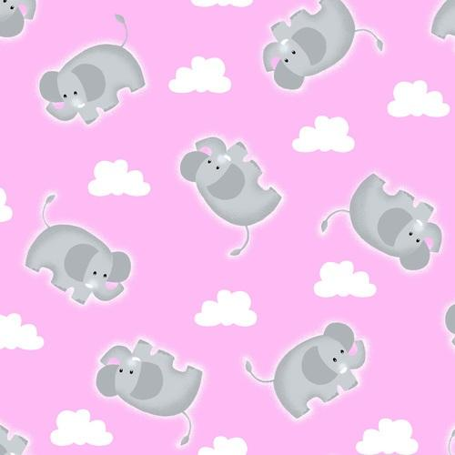 Comfy Flannel Elephant Fabric - Pink - ineedfabric.com
