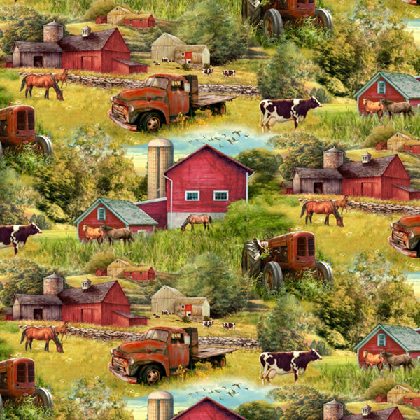 David Textiles, Barn and Trucks Fabric - ineedfabric.com