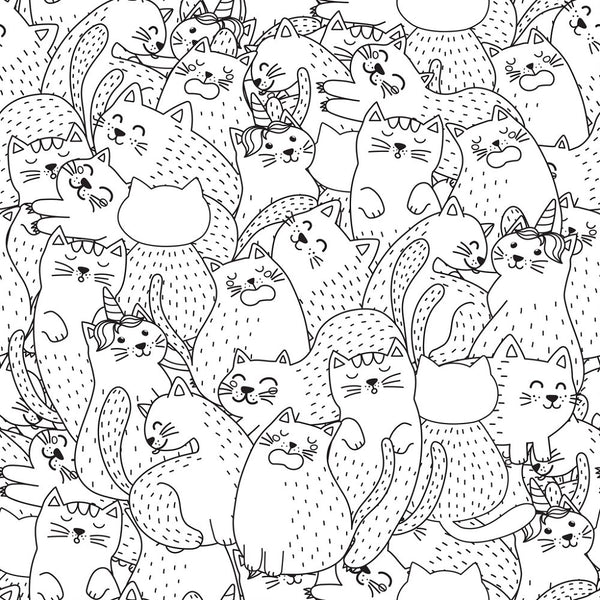 Digitally Printed Funny Packed Cats Fabric - ineedfabric.com