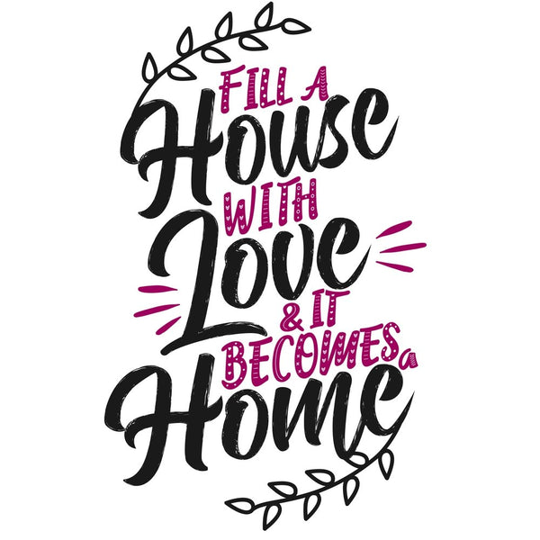 "Digitally Printed House Love Home Fabric Panel - 26"" - ineedfabric.com"