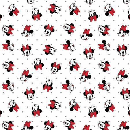 Disney Minnie Mouse Dreaming in Dots Fabric -White - ineedfabric.com