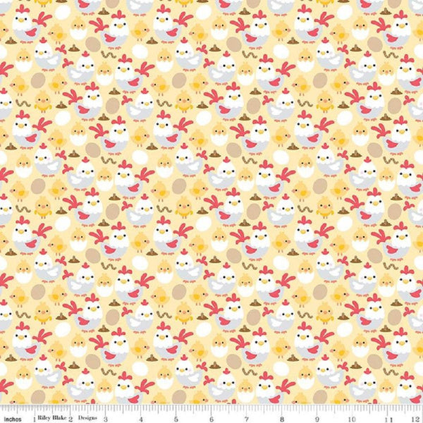 Down On The Farm Chickens Fabric - Yellow - ineedfabric.com