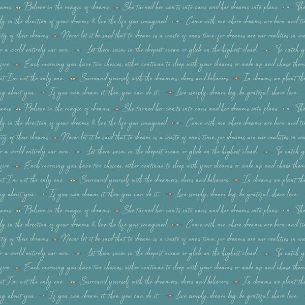 Dream Weaver Text Fabric - Teal - ineedfabric.com