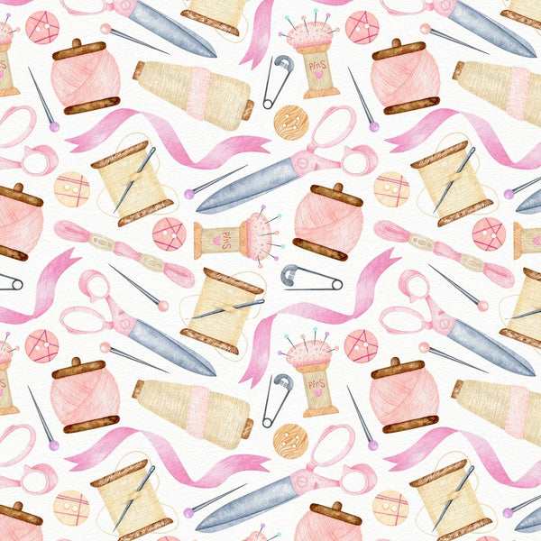 Dress Making Sewing Objects Fabric - Pink - ineedfabric.com