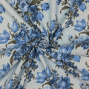 Elegant Blooms, Large Floral Fabric - Light Blue - ineedfabric.com