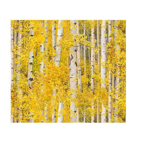Elizabeth's Studio, Aspen Leaves Fabric - Gold - ineedfabric.com