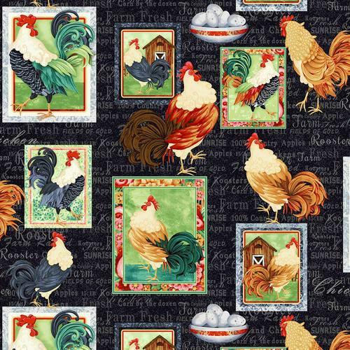 Farm Raised Rooster Patch Fabric - Black - ineedfabric.com