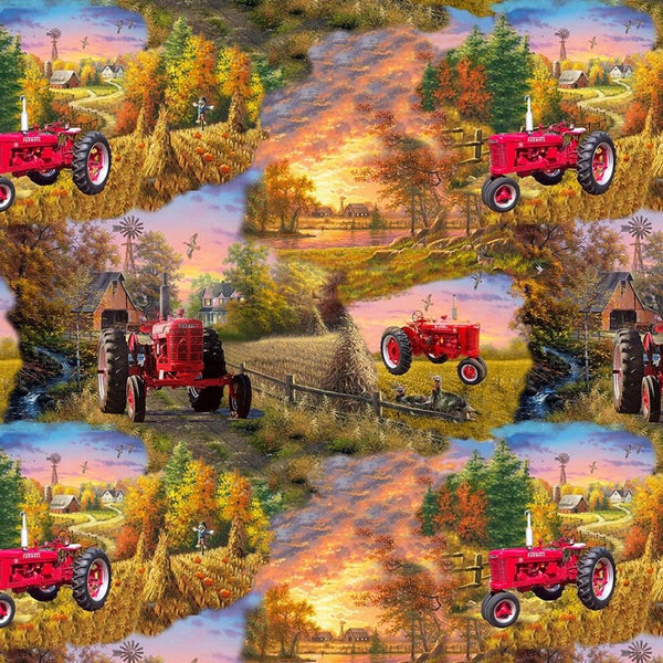 Farmall Country Living Tractor Scenic Fabric - ineedfabric.com